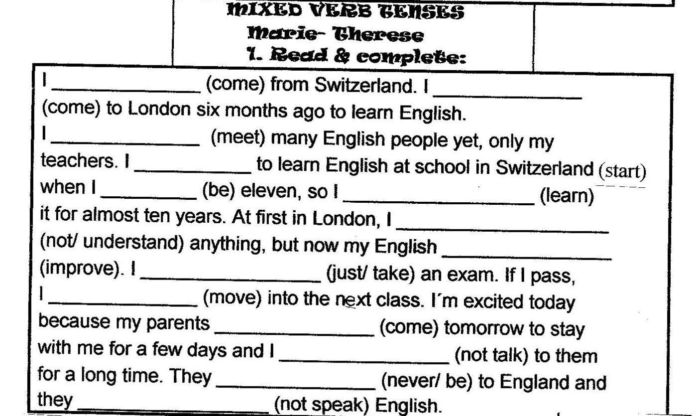 Workbooks tenses practice worksheets : Text verb tense mix   vivienglishteacher
